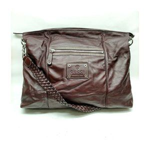authentic Gucci messenger Bag Brown Leather